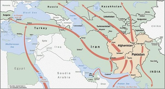 Pakistan-Afghanistan drug trade routes