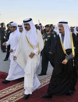 Sheikh Hamad bin Khalifa al-Thani, upon his arrival at Riyadh airport to attend a Gulf Cooperation Council