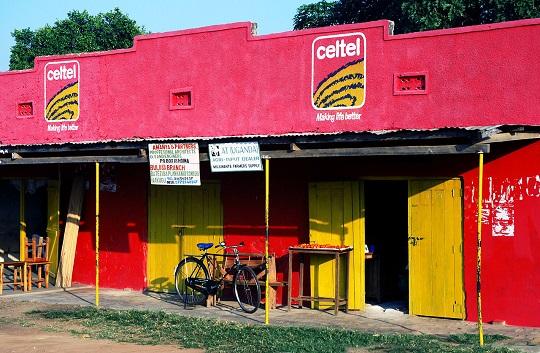 Celtel advertising in rural Uganda
