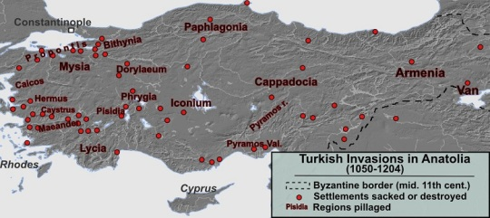 the first wave of Turkish invasions in Asia Minor (1050-1204)