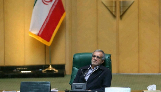 Masoud Pezeshkian, the deputy speaker of parliament and leader of its newly formed Turkic-speaking faction, presides over a legislative session in Tehran, Iran, in this photo posted on Twitter on June 6, 2016. (photo by Twitter/@RZimmt)
