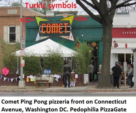 Comet Ping Pong pizzeria sign on Connecticut Avenue Washington DC Pedophilia PizzaGate