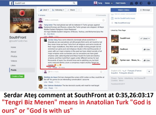 Serdar Ateş Commented to this article at SouthFront at 00:35,26,March,17