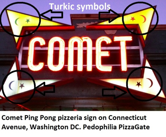 The sign of Comet Ping Pong pizzeria is seen on Connecticut Avenue