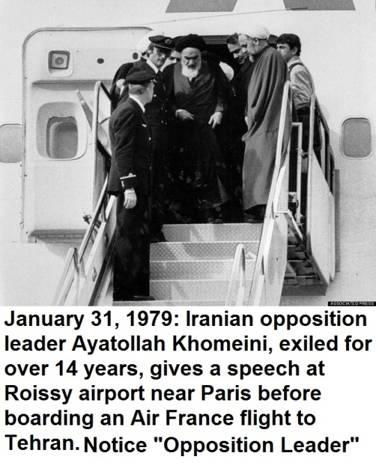 On 1 February 1979 Khomeini flew in a chartered Air France plane to Iran. He was accompanied by supporters as well as 120 international journalists.