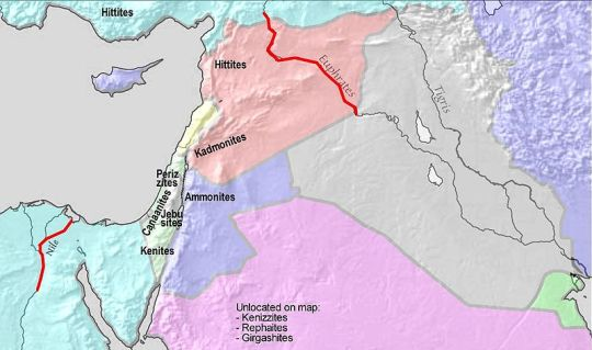 Map showing one interpretation of the borders of the Promised Land, based on God's promise to Abraham (Genesis 15)-Greater Israel map
