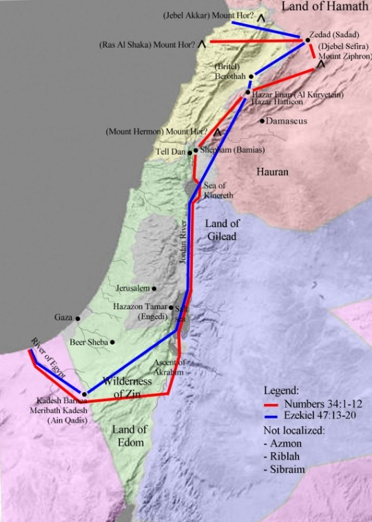 Map showing the borders of the Promised Land, based on Bible in Numbers 34 and Ezekiel 47