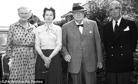 Sir Winston and Lady Churchill (centre) had a very different relationship to his parents.