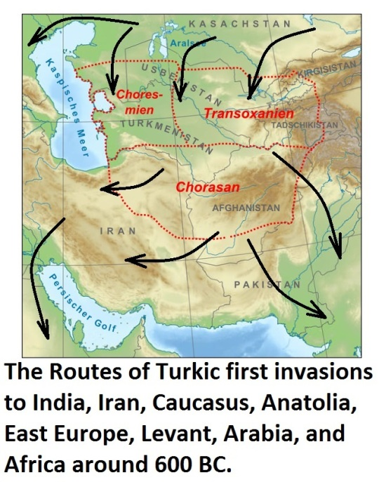 The Routes of Turkic People to Iran and Levant