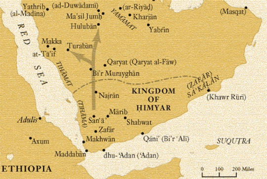 A map of the Arabian Peninsula showing the Hebrew-Arab Kingdom of Himyar, together with other notable Hebrew villages