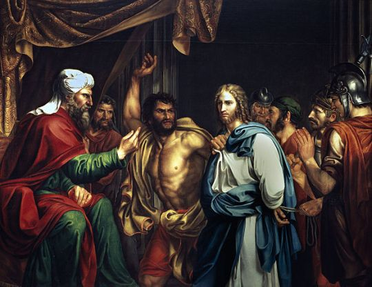 Jesus about to be struck in front of the High Priest Annas, as in John 18:22, depicted by Madrazo, 1803
