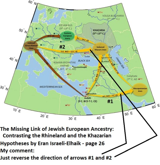The major migrations that formed Eastern European Jewry according to the Khazarian and Rhineland Hypotheses are shown in yellow and browns, respectively