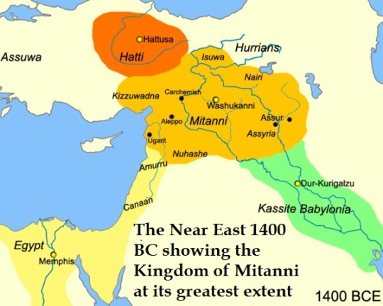 The Near East 1400 BC showing the Kingdom of Mitanni at its greatest extent