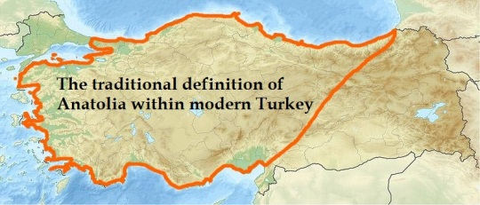 The traditional definition of Anatolia within modern Turkey