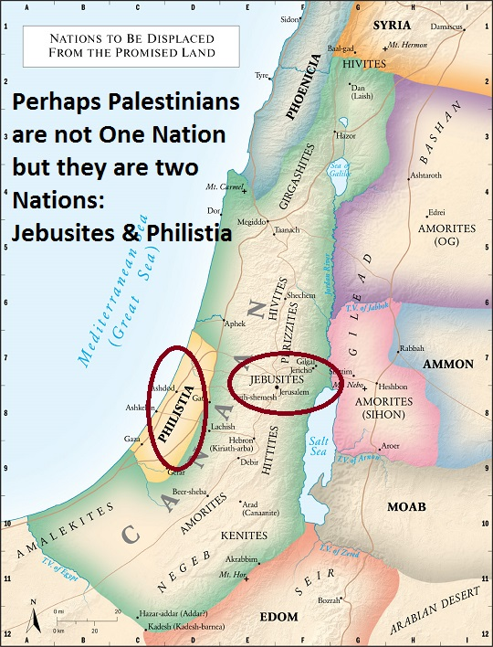 Perhaps Palestinians are not One Nation but they are two Nations - Jebusites & Philistia