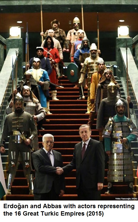 Erdoğan and Abbas with actors representing the 16 Great Turkic Empires (2015)