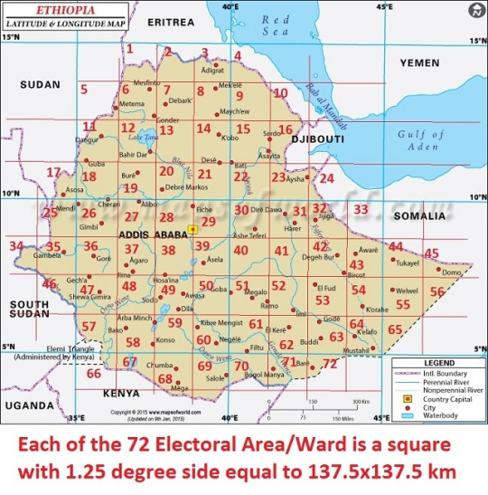 Ethiopia has a total area of 1,104,300 sq. km. It could be a grid of about 62 equal geographic electoral areas/wards as constituencies