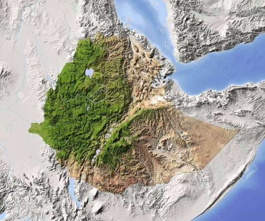 Ethiopia shaded relief map