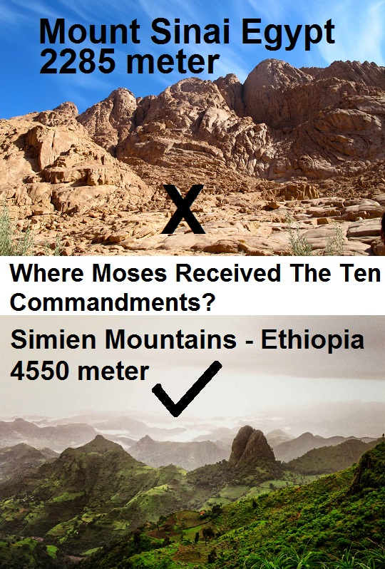 Moses Mountain is in Semien of Gondar Ethiopia not Sinai Egypt