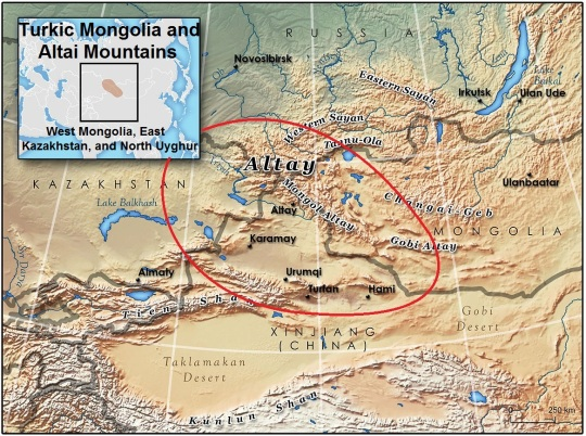 Turkic Mongolians origin in Altai Mountains and northern Tarim Basin of Western Mongolia, Eastern Kazakhstan, and Northern Uyghur