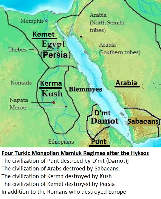 D'mt one of four Turkic Mongolian Mamluk Regimes after the Hyksos